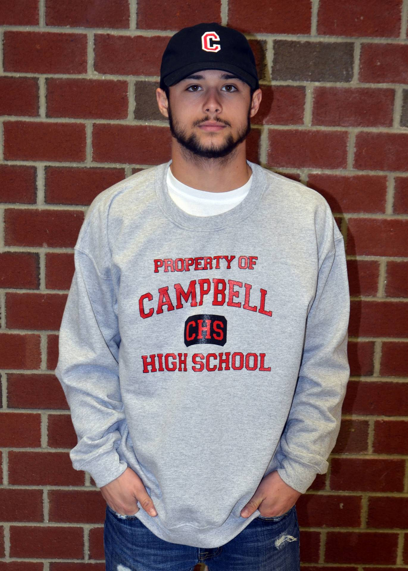 Light Gray Crew Neck Sweatshirt & Campbell Embroidered Hat