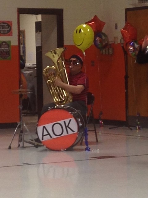 """One Man Band Thompson"" plays for the AOK (Acts of Kindness) Circus"