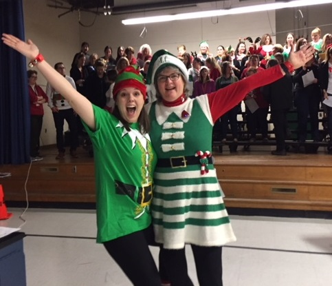 Ms. West and Mrs. Saxton and Staff Holiday Sing-a-long