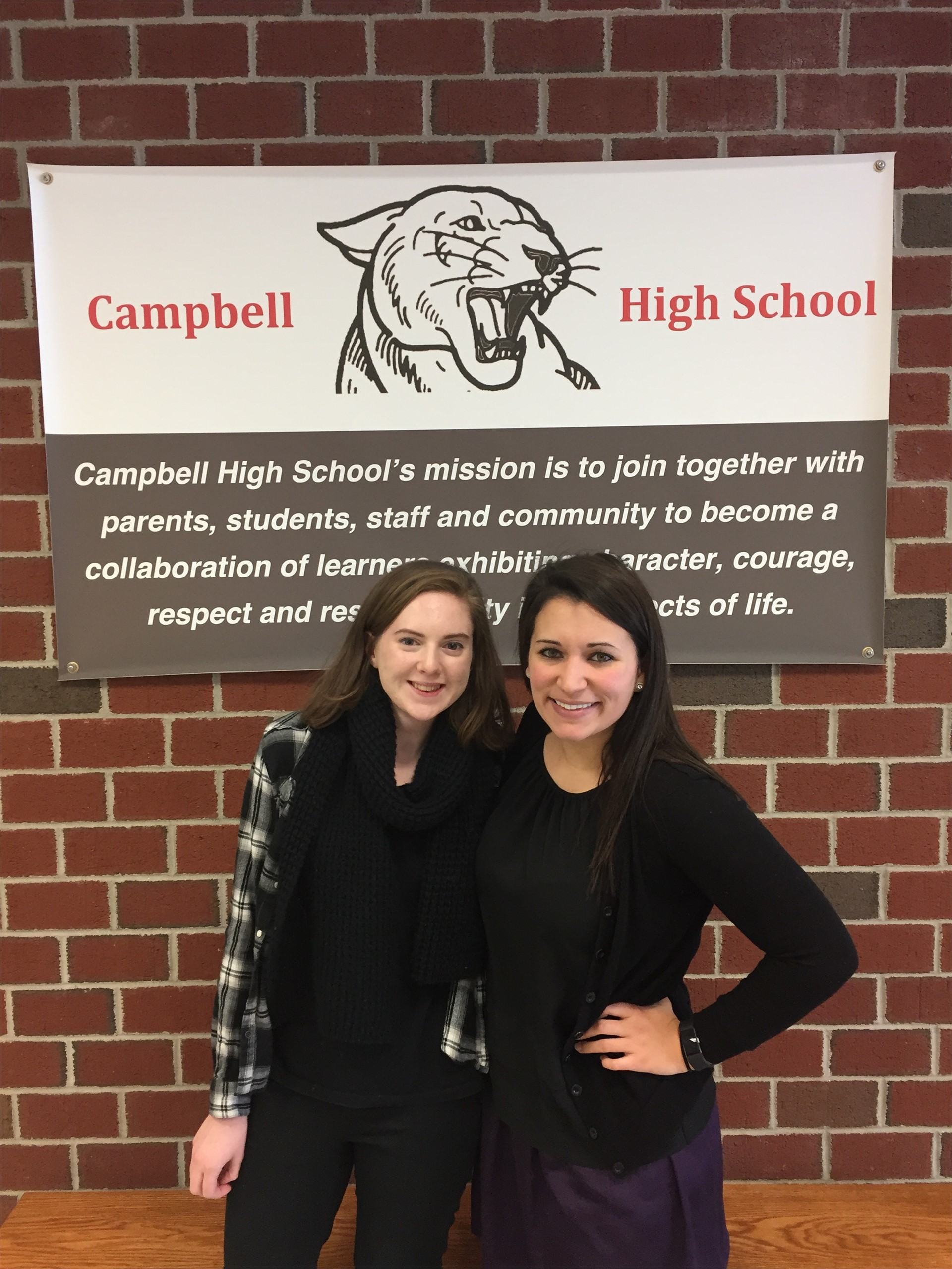 Carolyn Spaulding, January Student of the Month with Ms. Watson. Photo by Mr. Perez