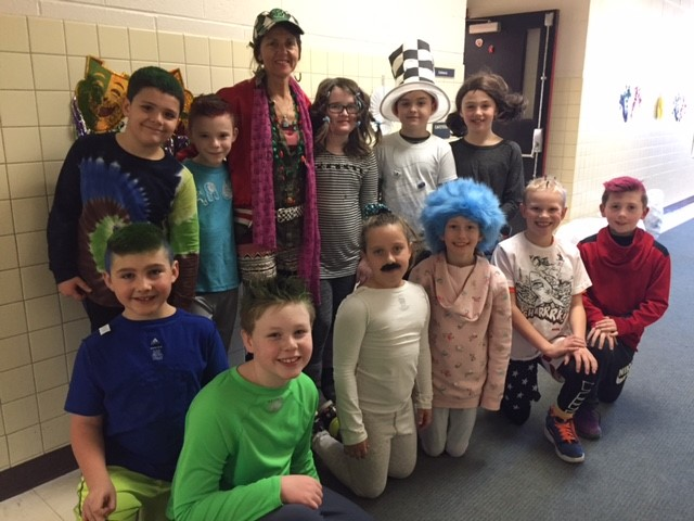 Read Across America-Wacky Wednesday-Mrs.Gee and some Grade 3 participants