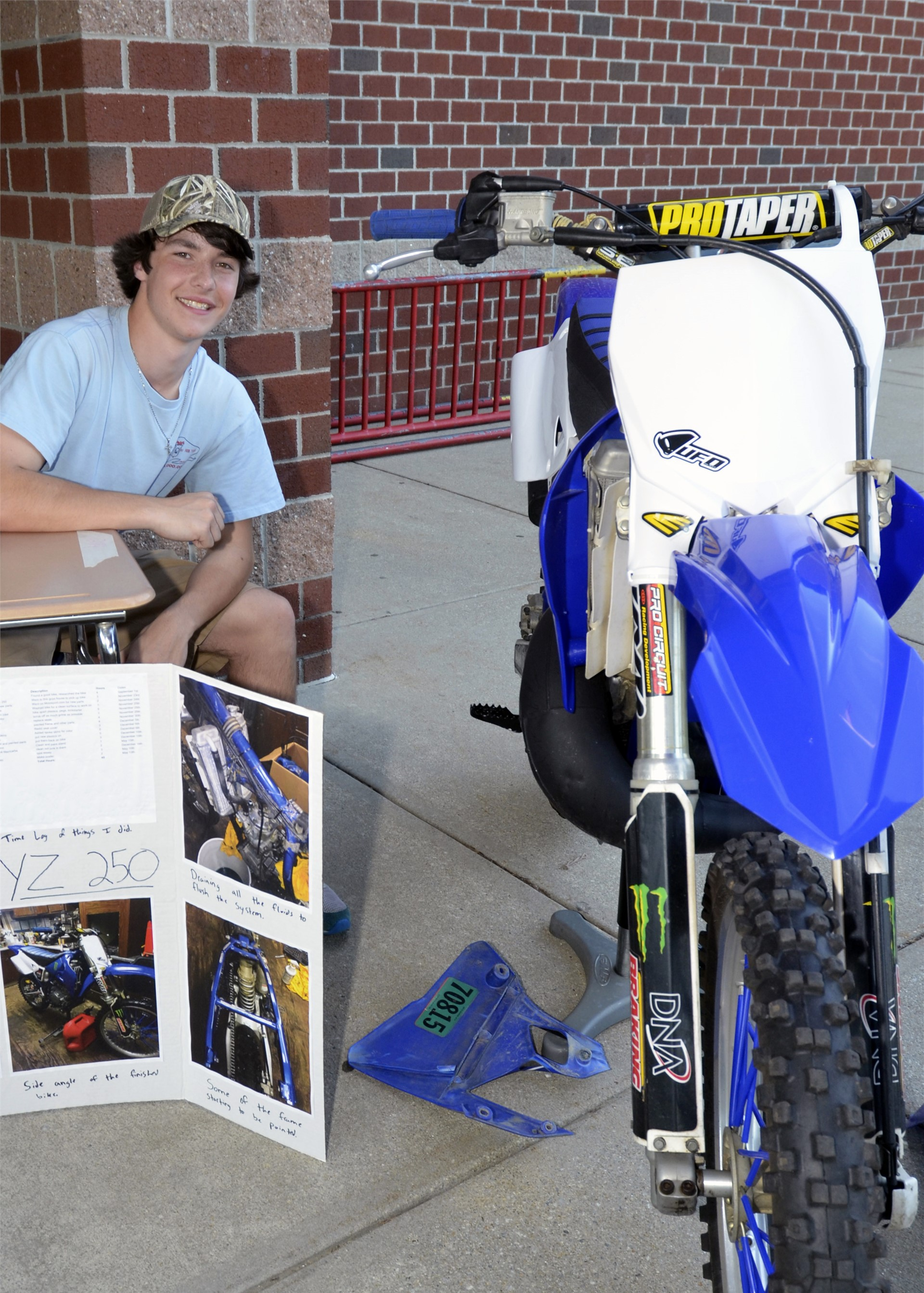 D. Mason rebuilt a dirt bike for off-road racing.