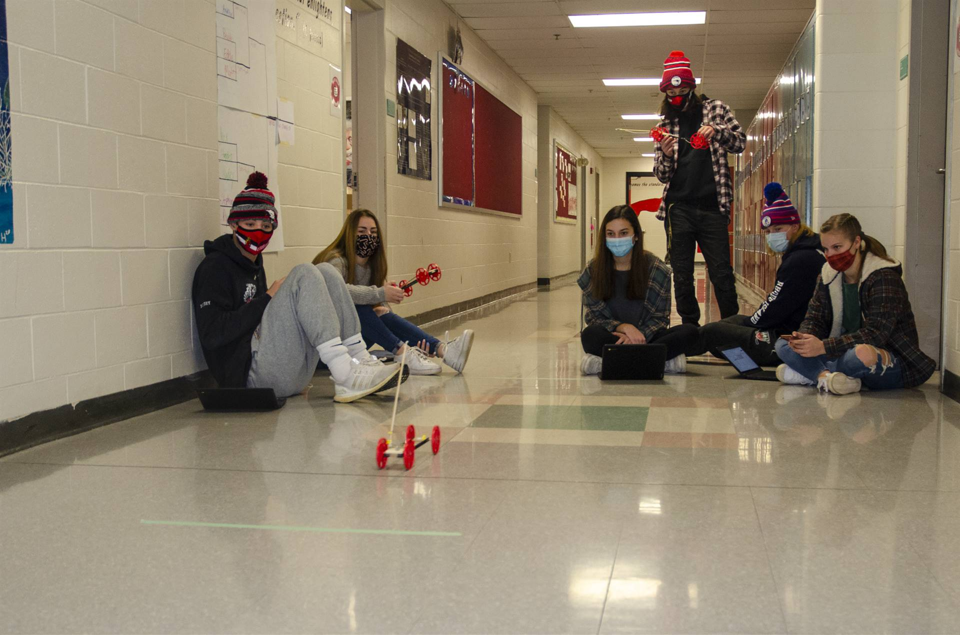 Physics doing time tests with their mouse trap cars