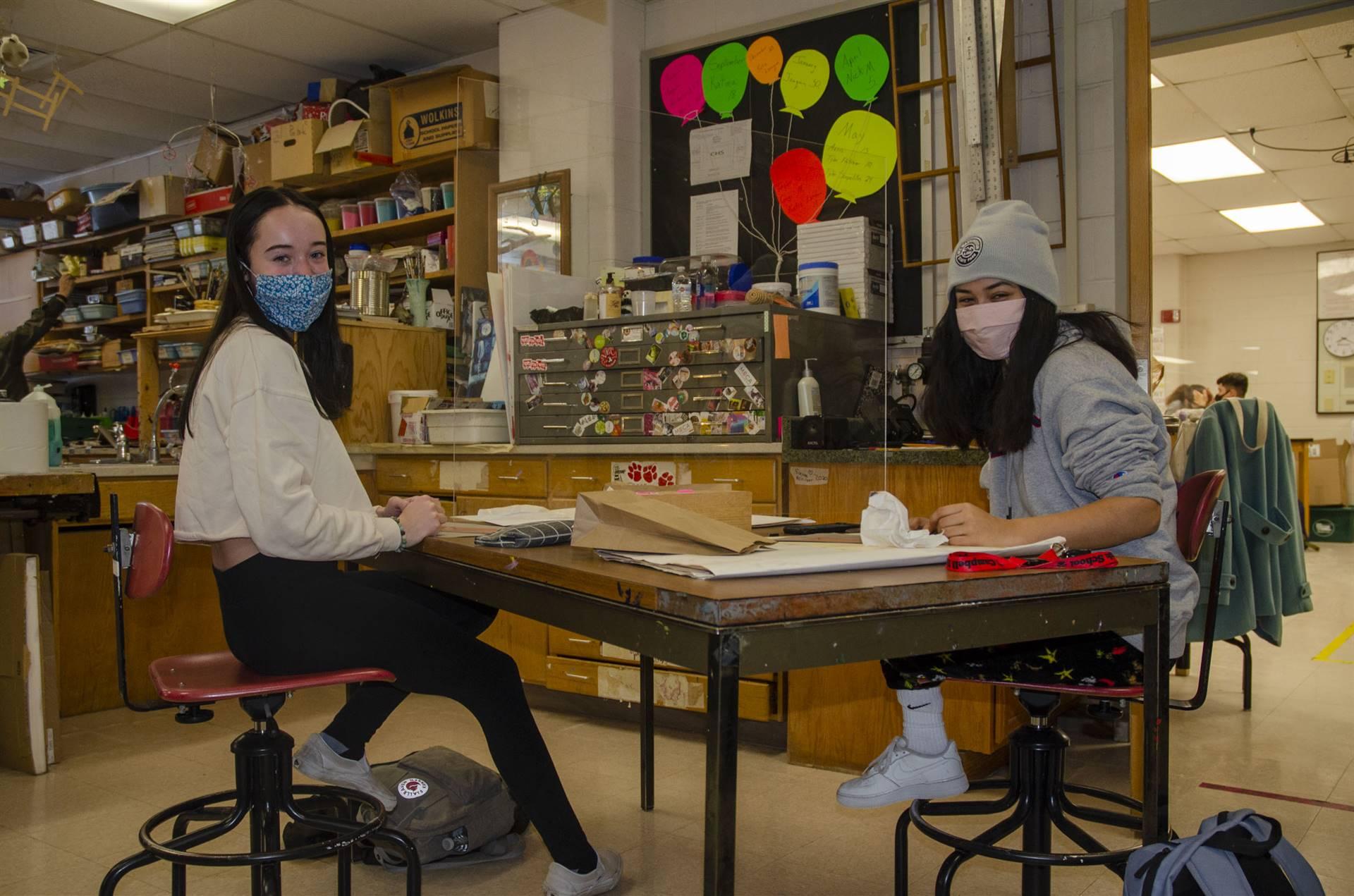 Maddy and Jenna enjoying drawing class