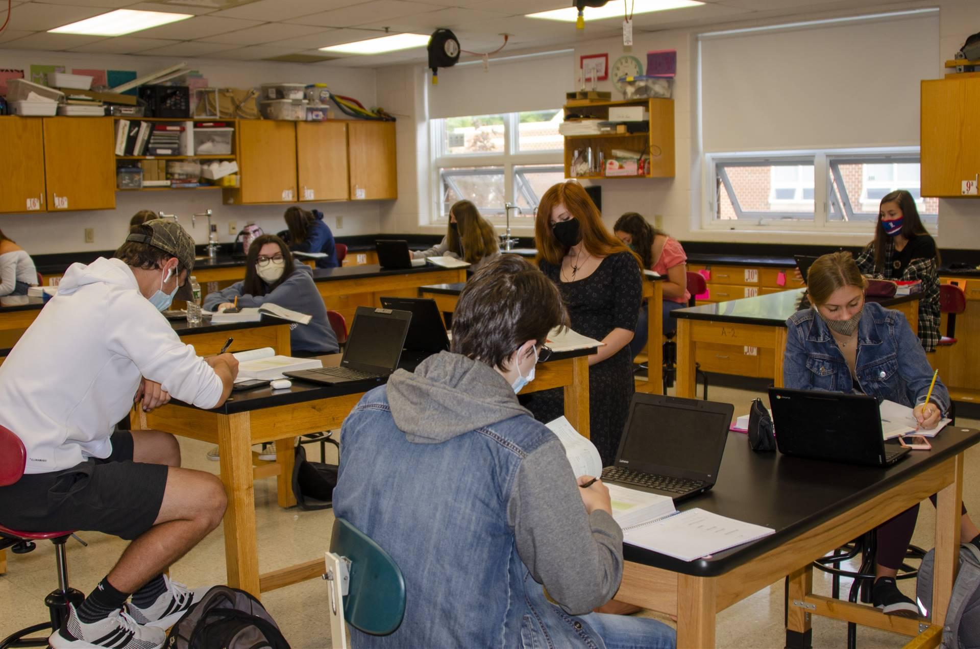 Math class busy working